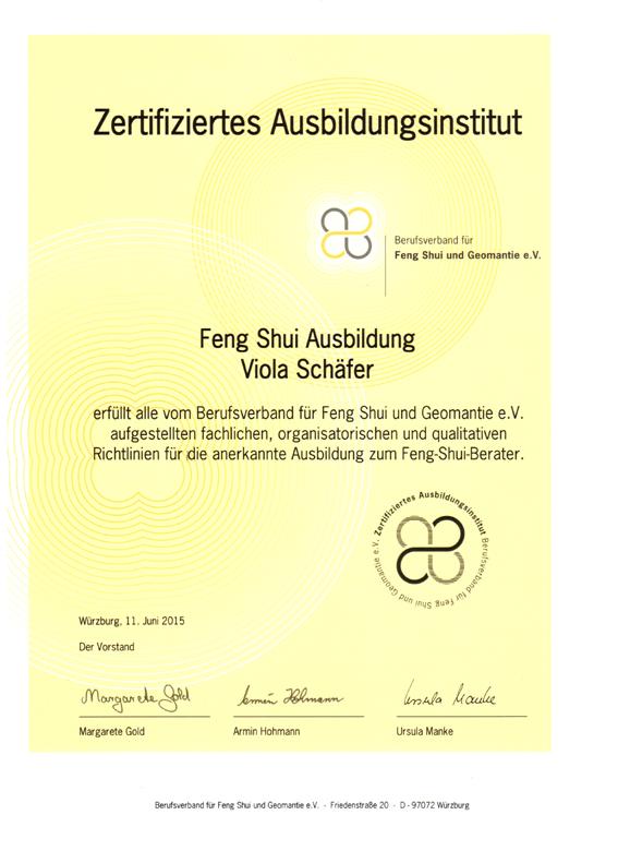 Feng Shui Seminare, Feng Shui Verband, Feng Shui Ausbildung